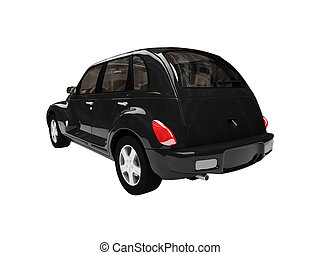 american isolated black car back view