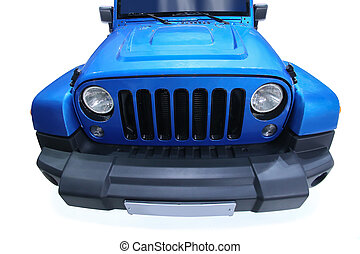 American jeep  - blue American jeep front close up isolated