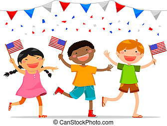american kids - American children celebrating 4th of july