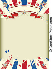 American dirty poster with a large empty kraft paper frame for your message