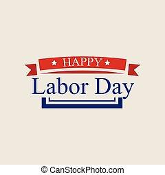 American labor day logo, flat style