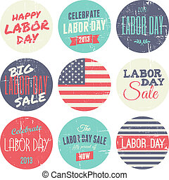 American Labor Day Sickers Collecti - A set of nine ...
