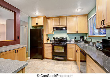 American light wood kitchen interior. - American small house...