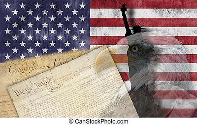 american lobogó, és, hazafias, jelkép