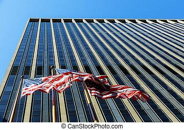 american lobogó, ütés felteker, ellen, kereskedelmi épület, noha, windows, blue, ég
