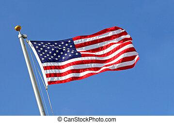 american lobogó, ütés felteker, noha, kék ég