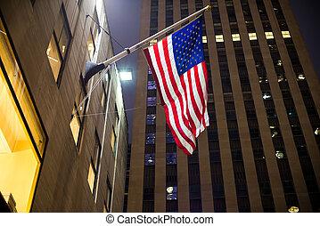 american lobogó, felhőkarcoló, háttér