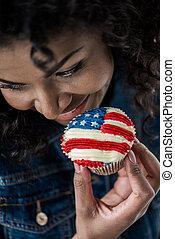 american lobogó, leány, cupcake