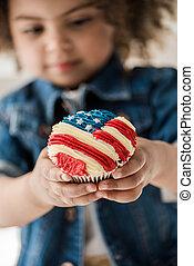 american lobogó, leány, muffin