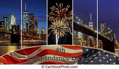 american lobogó, repülés, a, egy, láthatár, új york város, manhattan épület, láthatár, este, tart