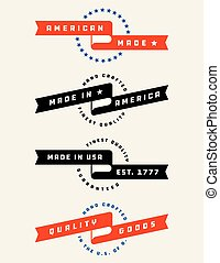 American Made Banner Vector Badges.