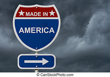 American Made in America Highway Road Sign