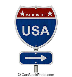American Made in the USA Highway Road Sign