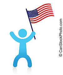 american man waving a USA flag