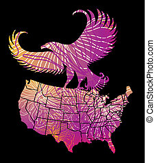 american map and eagle eps8 vector art