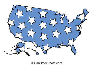 American Map filled with stars