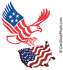 American map flag guarding amerekanskyy eagle in patriotic...
