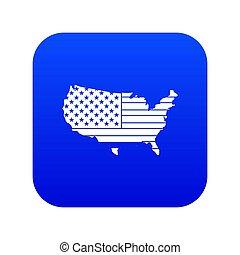 American map icon digital blue