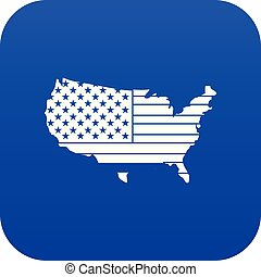 American map icon digital blue