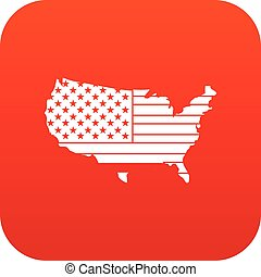 American map icon digital red