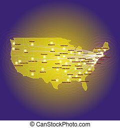 American map illustration.