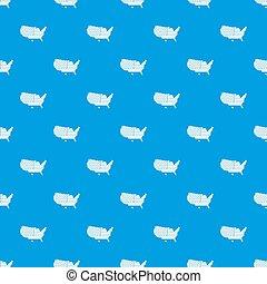 American map pattern seamless blue