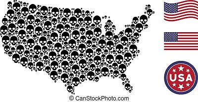 American Map Stylized Composition of Skull
