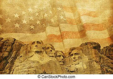 American Memorial Background with Rushmore National Memorial...