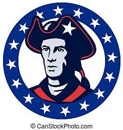 american-minuteman-head - vector illustration of an american...
