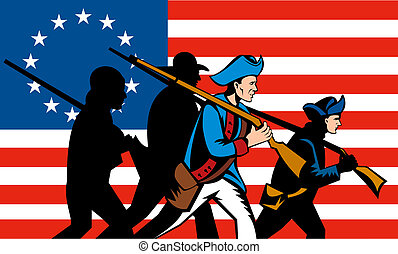 American minutemen march - Illustration of American...