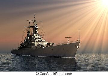 American Modern Warship In Rays Of The Sun
