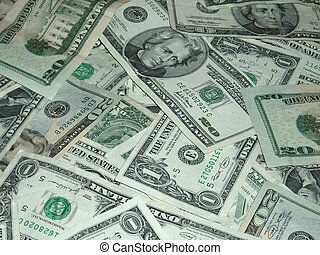 Assortment of American one and twenty dollar bills.