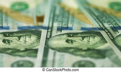 American money in denominations of 100 dollars close up