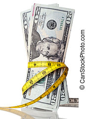 "American money with a tape measure around the ""waist\"""
