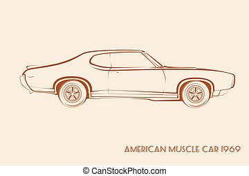 Classic cars - 60s . Black and white illustration of ...