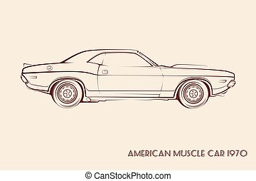 American muscle car silhouette 70s