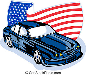 American muscle car stars stripes flag - graphic design...
