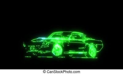 American muscle car with tools - American muscle car laser...