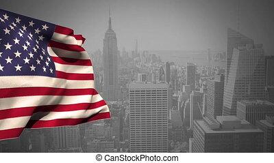 American national falg waving