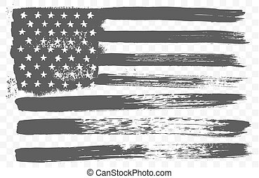 American national flag in black and white grunge style isolated on a transparent background.