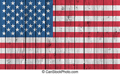 American national flag on old wood background