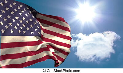 American national flag waving on blue sky background with...