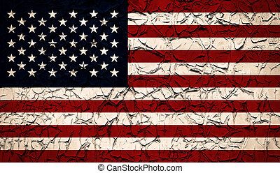 American national flag with paint peeled texture