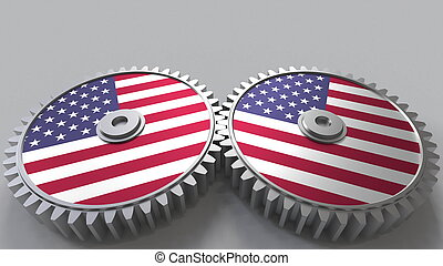 American national project. Flags of the United States on moving cogwheels. Conceptual 3D rendering
