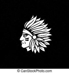 American native chief head icon. Indian logo