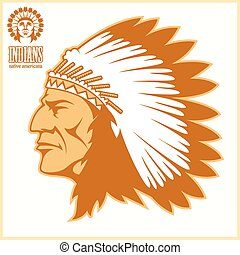 american native chief head - vector illustration on light...