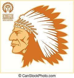 american native chief head - vector illustration on light ...