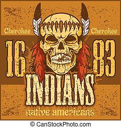 American native chief skull -  vintage vesign