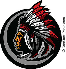 American Native Indian Chief Mascot - Graphic Native...