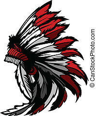 American Native Indian Feather Head - Graphic Native...
